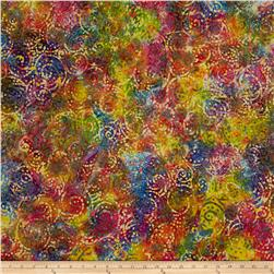 Indian Batik Gypsy Circle Scroll Bright Multi