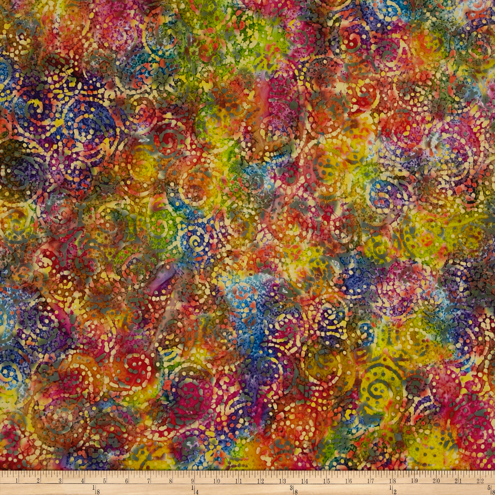 Indian Batik Gypsy Circle Scroll Bright Multi Fabric by Textile Creations in USA