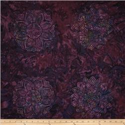 Bali Batiks Handpaints Medallion Tile Purple