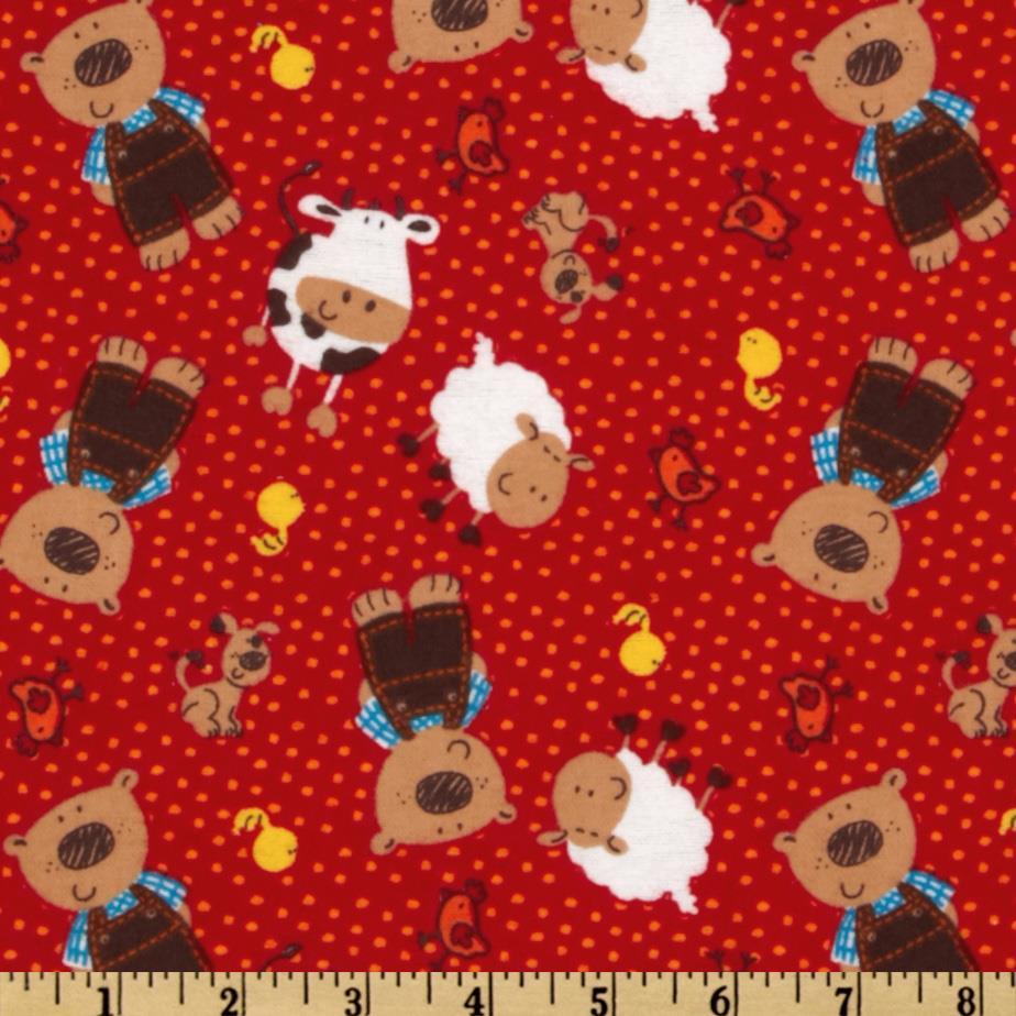 Camelot Flannel Tossed Bears & Friends Red