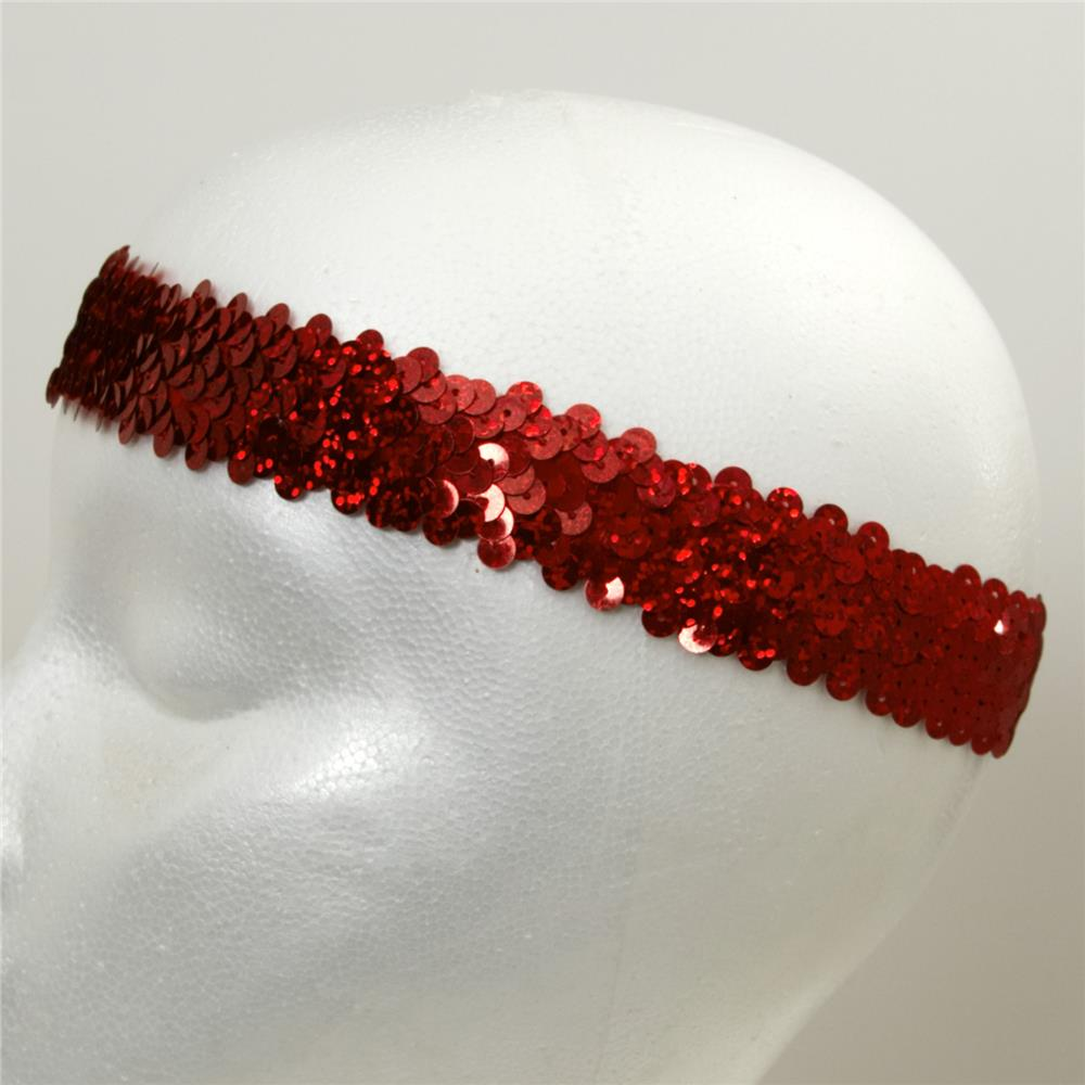 "1 1/4"" Hologram Stretch Sequin Headband  Red"