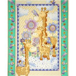 Giraffe Family Baby 36 In. Panel Multi