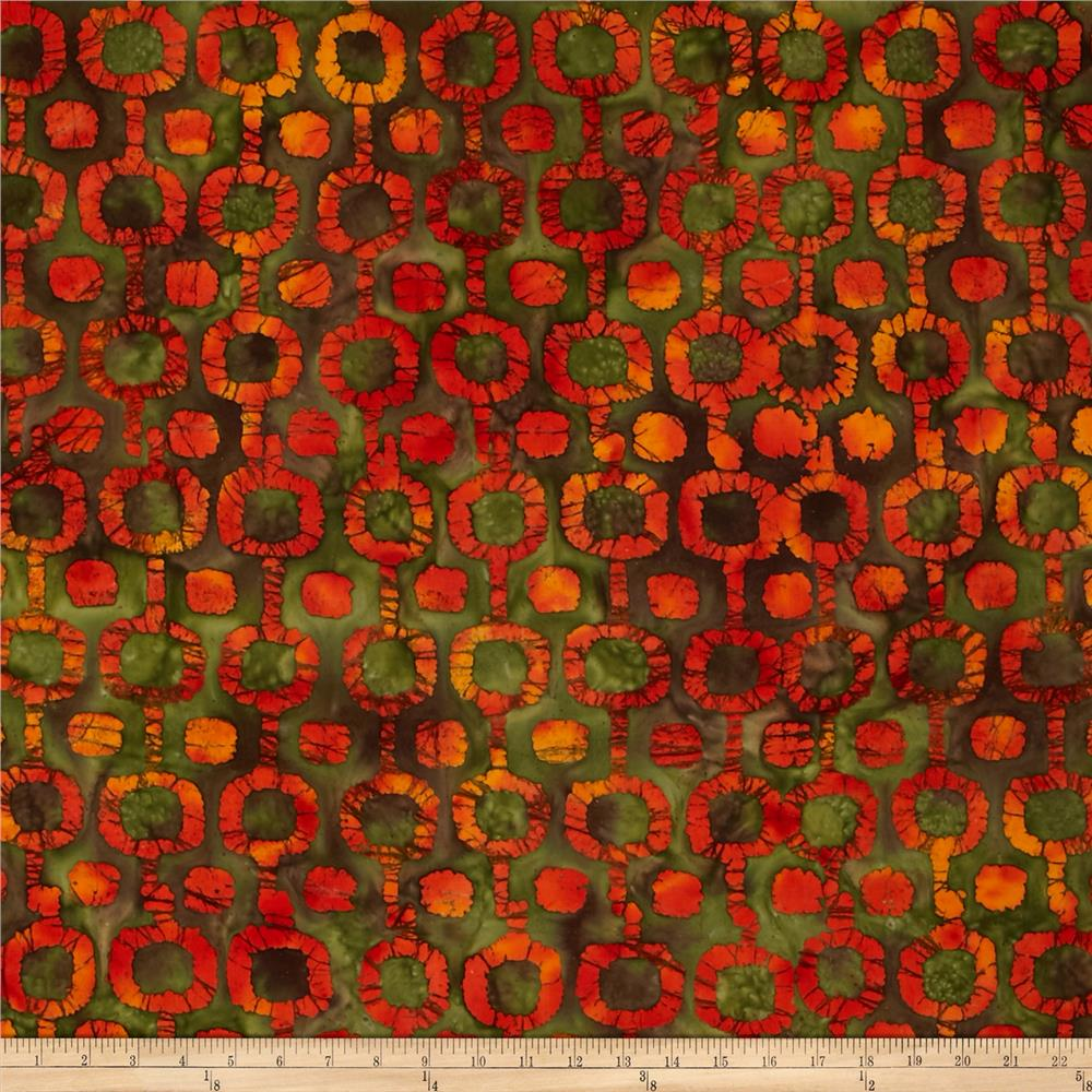 Indian Batik Tribal Circles Green/Orange