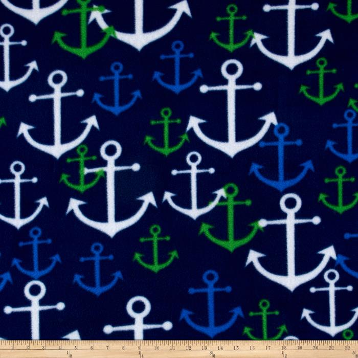 Simply Nautical Anchors Fleece Navy/Kelly Green