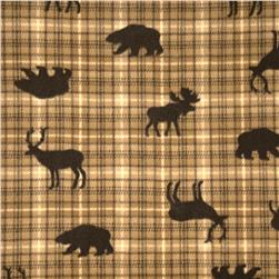 Printed Fleece Tossed Forest Animals Plaid Brown