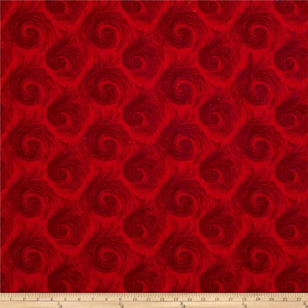 """Breezy 108"""" Wide Back Circular Print Dark Red On Red"""