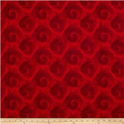 "Breezy 108"" Wide Back Circular Print Dark Red On Red"