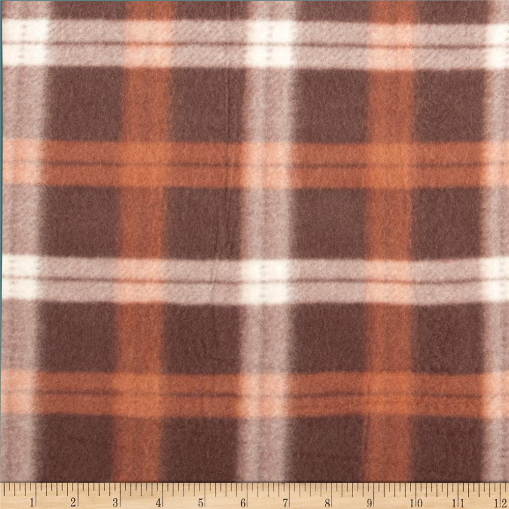Printed Fleece Plaid Brown/Orange