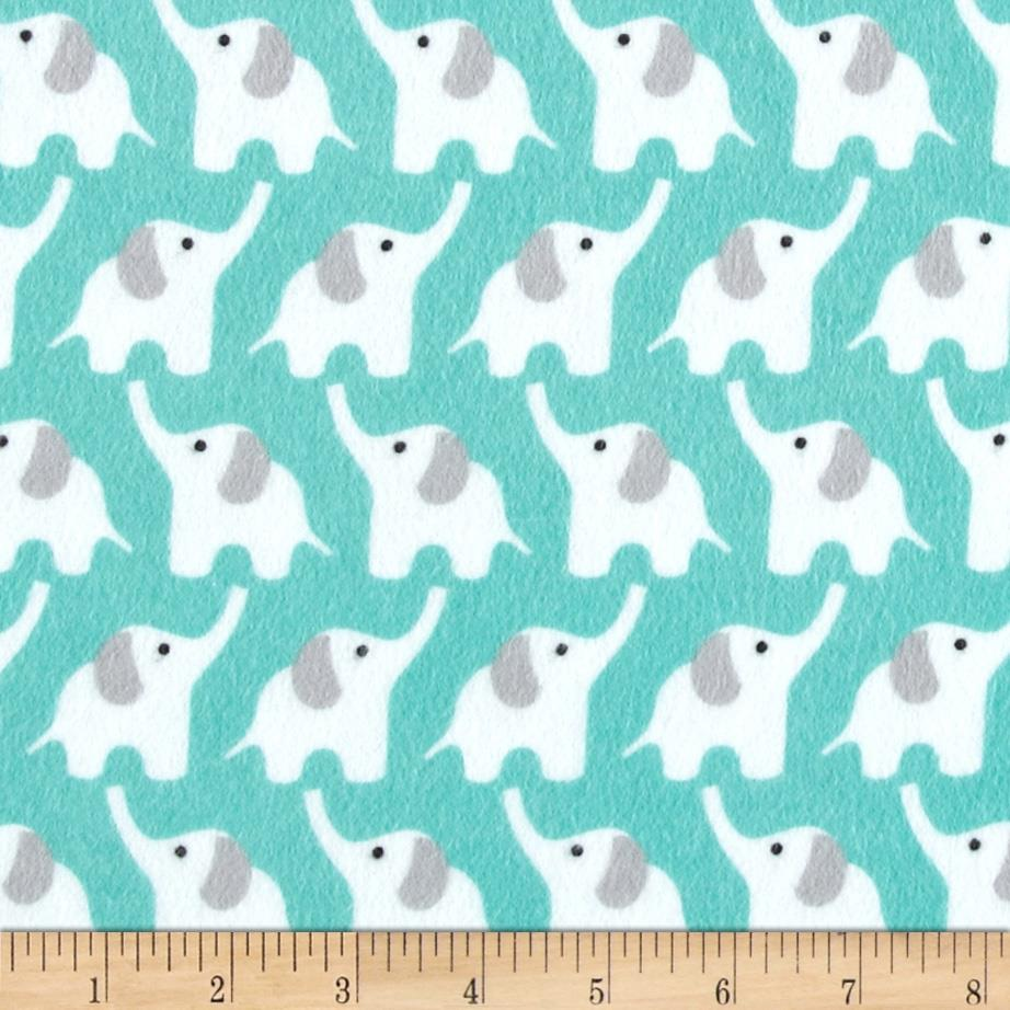Cloud 9 Fanfare Organic Flannel Elephants Turquoise