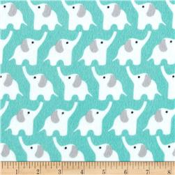 Cloud 9 Fanfare Organic Flannel Elephants Turquoise Fabric