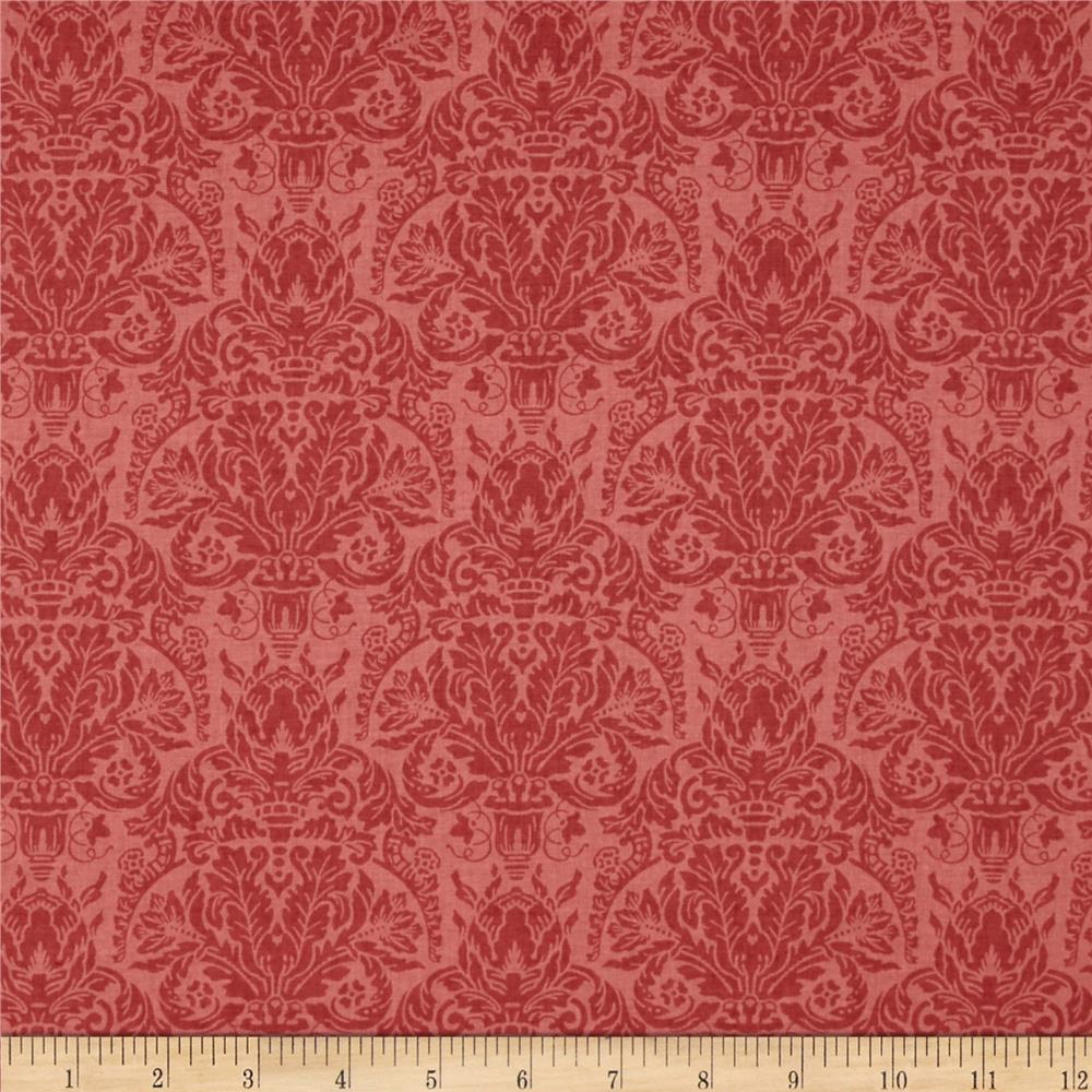 Treasures By Shabby Chic Vintage Rose Damask Dark Red