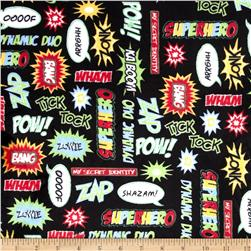 Kaufman Superhero Minky Cuddle Pow Adventure Black Fabric
