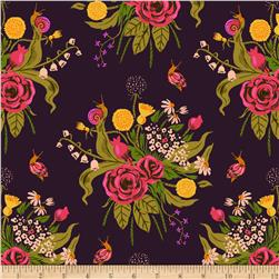 Heather Ross Sleeping Porch Lawn Wildflowers  Plum