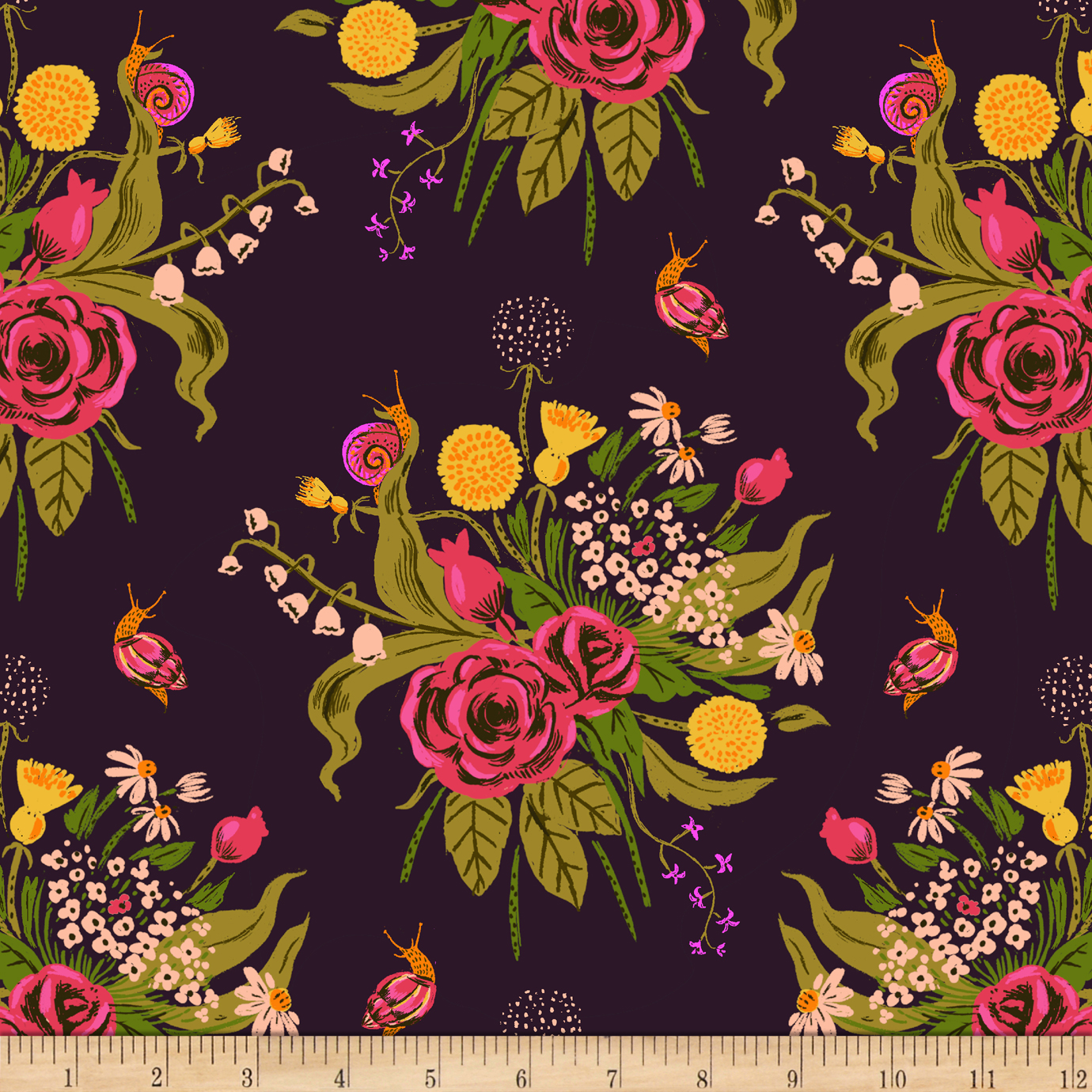 Heather Ross Sleeping Porch Lawn Wildflowers Plum Fabric by Windham in USA