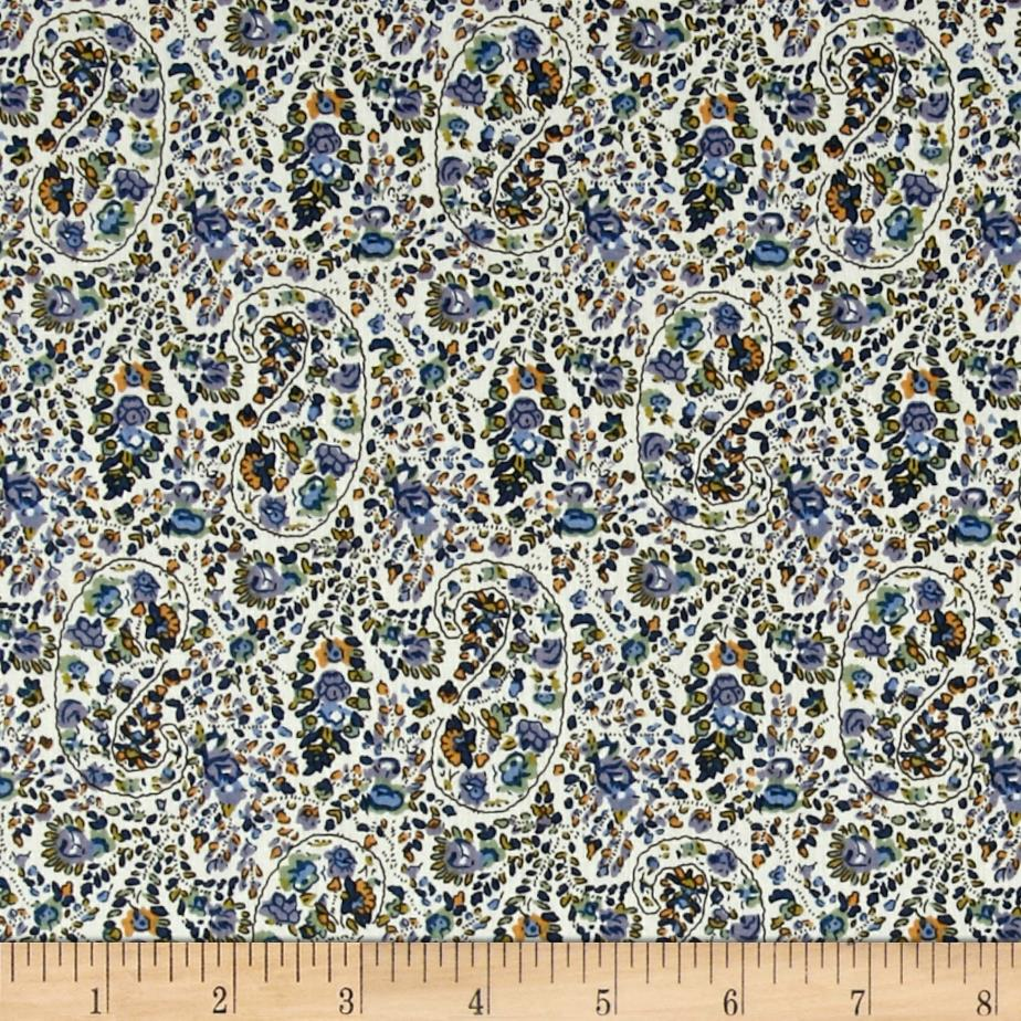 Telio Hampton Court Cotton Shirting Paisley Blue