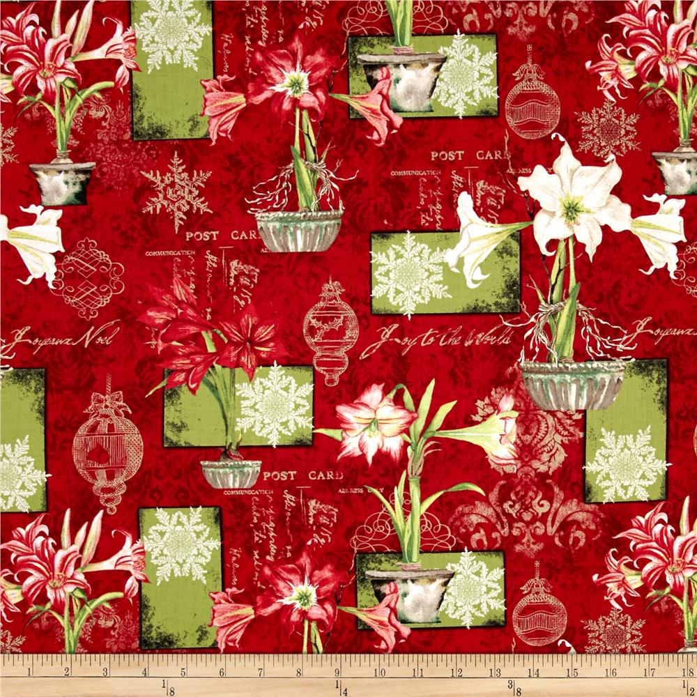 Christmas In Bloom Large Allover Red