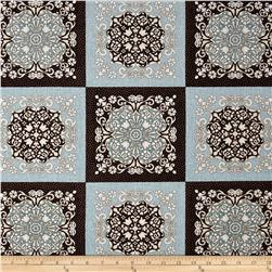 Burlap and Lace Medallion Squares Espresso/Blue