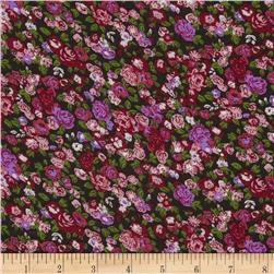 Serenade Rayon Challis Ashly Floral Cherry/Black