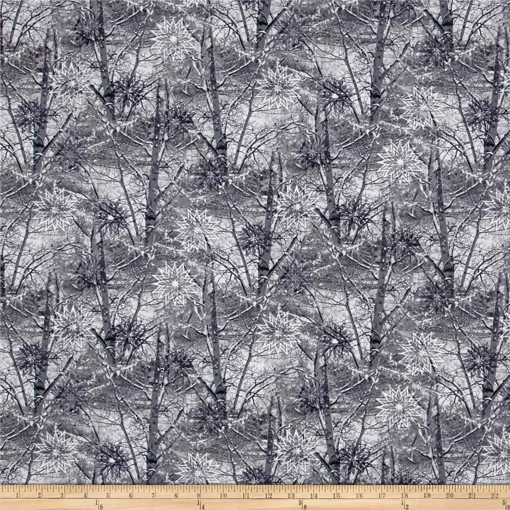 Timeless Treasures Forever Snowy Branches Pewter