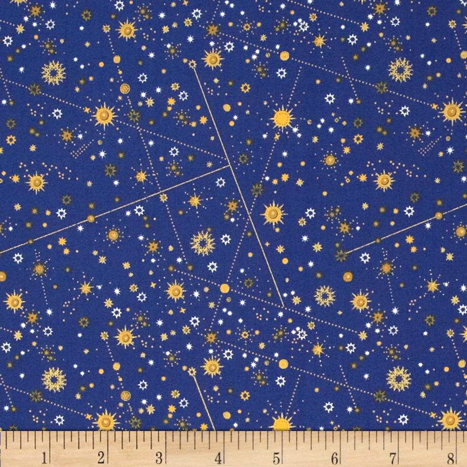 Celestial Metallic Constellations Navy/Gold