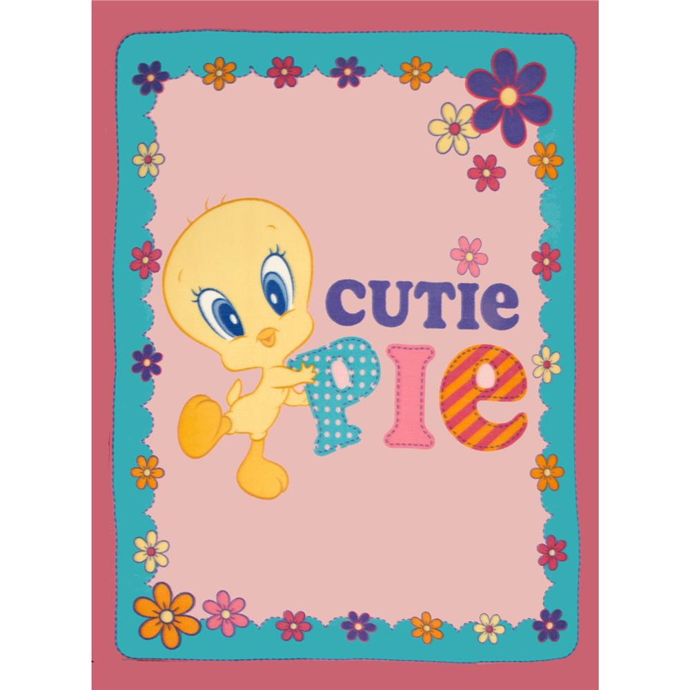 "Cutie Pie Tweety Bird Fleece 48"" Panel Bright Pink"