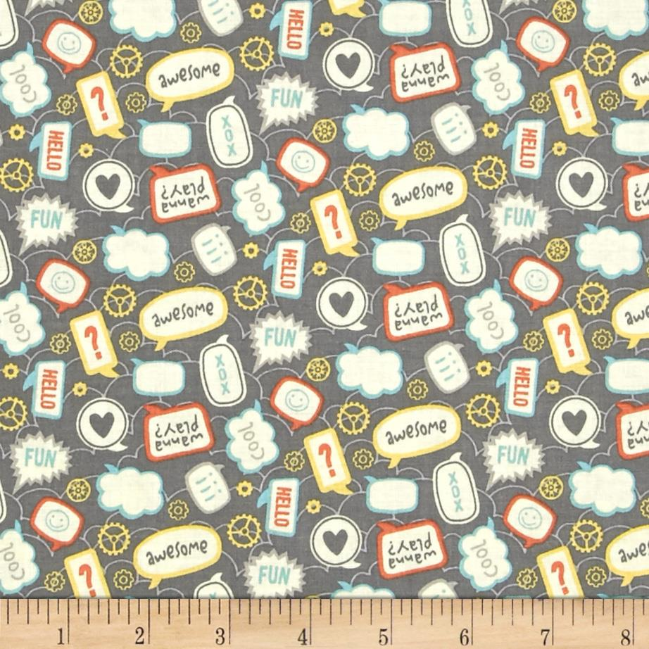 Riley Blake Little Flyers Talk Gray