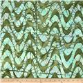 Indian Batik Large Wave Olive/Blue