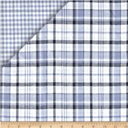 Reversible Cotton Shirting Plaid/Gingham Blue