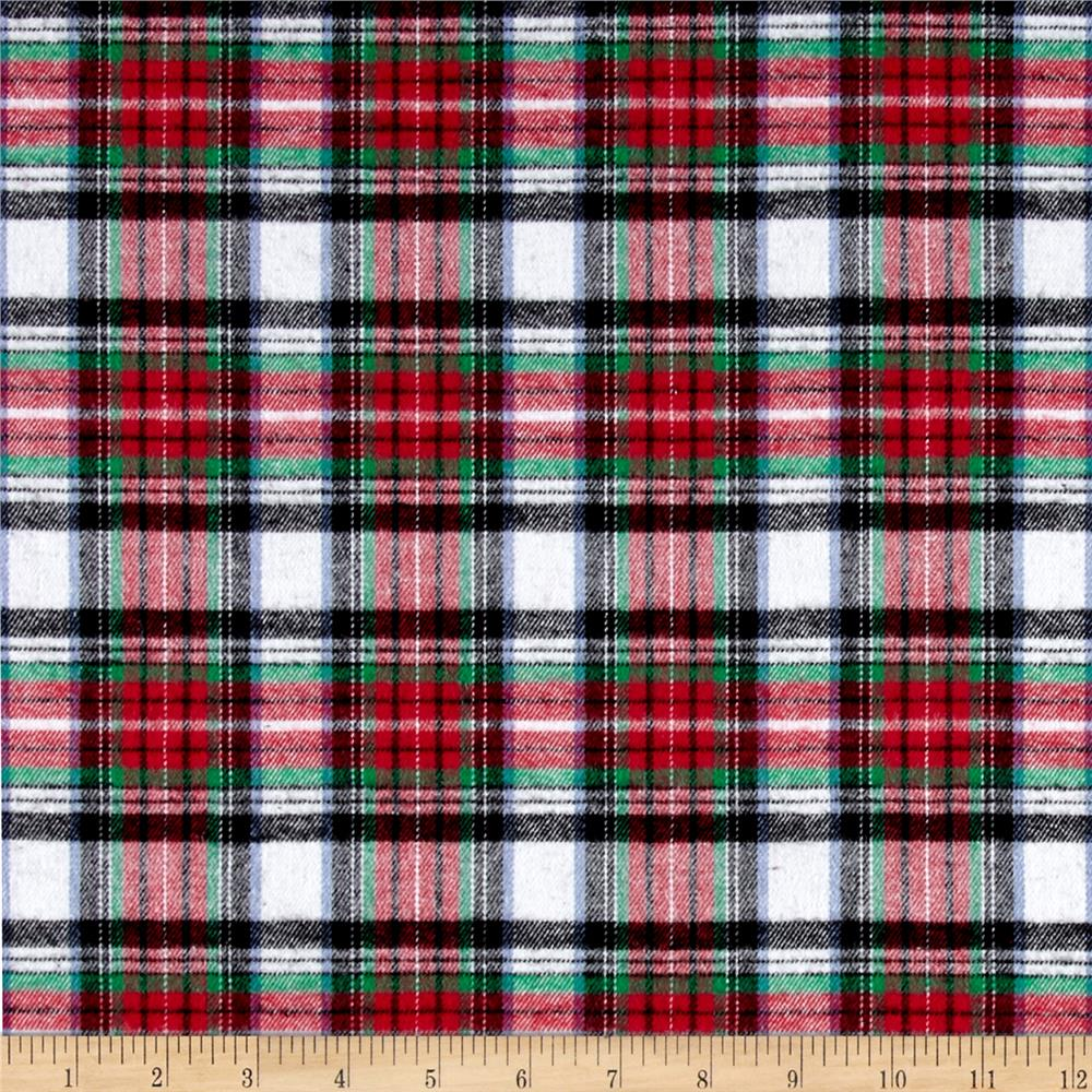 Yarn Dyed Flannel Plaid Red White Black Fabric