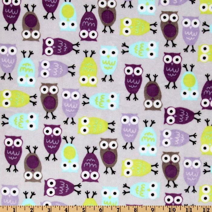Kaufman Minky Cuddle Night Owl Salt Water/Violet
