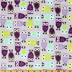 Kaufman Minky Cuddle Night Owl Tiffany/Violet Fabric
