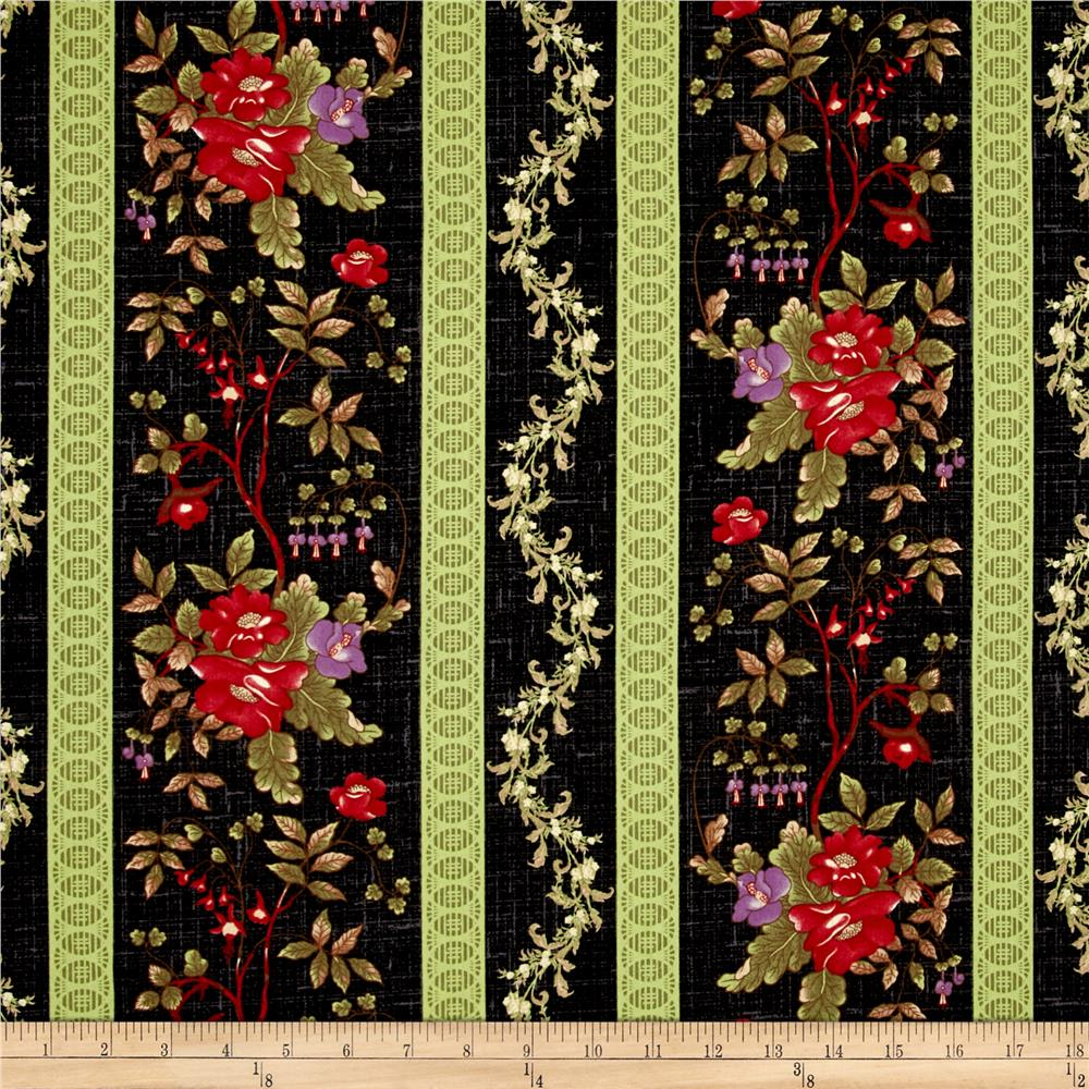 Enduring Grace Floral Repeating Stripe Black