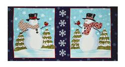 "Snow Much Fun Snowman 22"" Panel Midnight Blue"