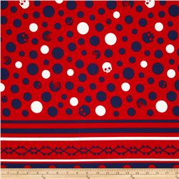 Kokka Skull Dots Double-Border Stripe Red