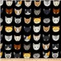 Kaufman Whiskers & Tails Cats In A Row Black