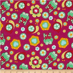 Flannel Frogs & Snails Fuchsia