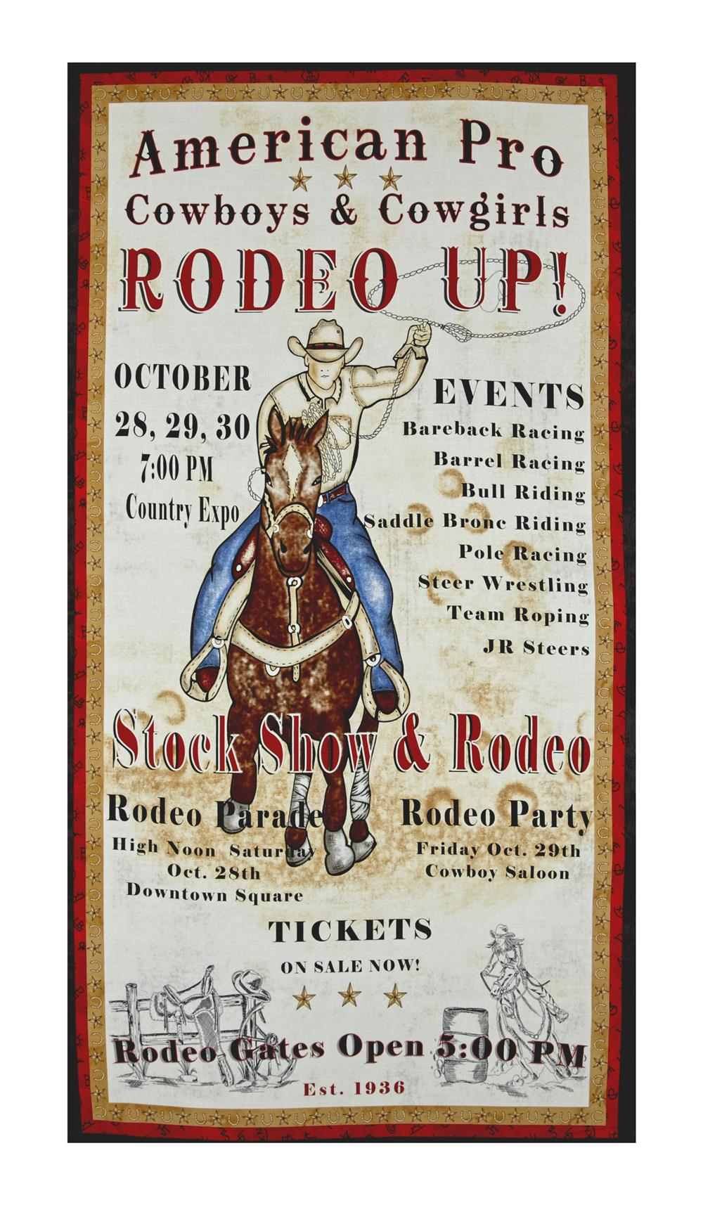 """Western Denim & Dirt Rodeo Up! 23"""" Rodeo Poster Ivory"""
