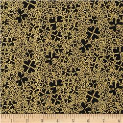 Irish Charm Metallic Packed Shamrock Black/Gold Fabric
