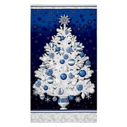 "Kaufman Winter Grandeur Metallic Tree 23.5"" Panel Evening"