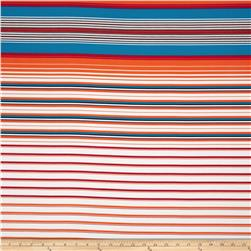Crepe de Chine Stripe Orange/Teal