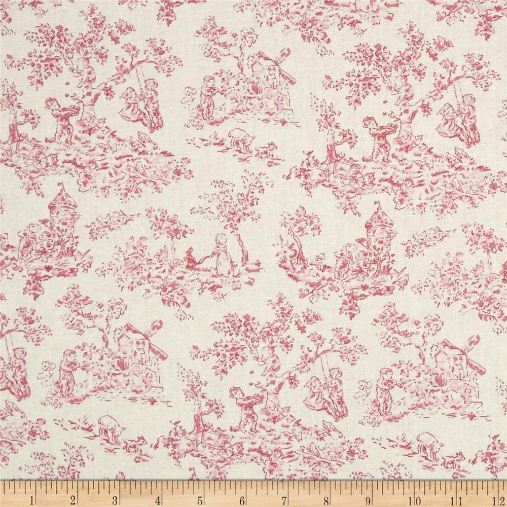 nursery rhyme toile pink discount designer fabric