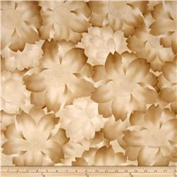 Robert Kaufman Imperial Collection Metallic Abstract Flowers Natural