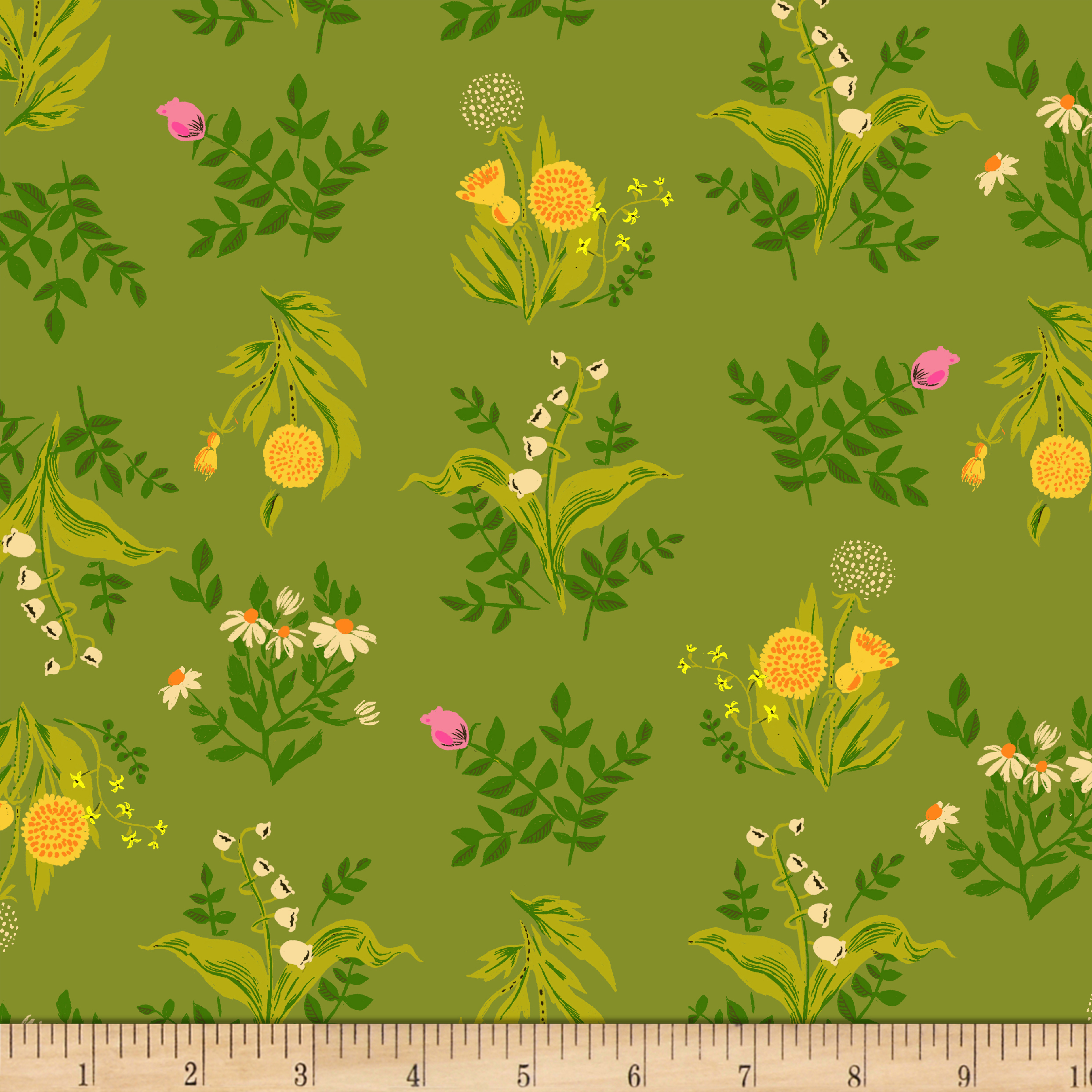 Heather Ross Sleeping Porch Lawn Bouquet Olive Fabric by Windham in USA