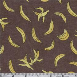 Moda Funky Monkey Flannel Bananas Brown