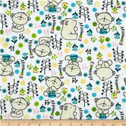 Flannel Honey Bear White Fabric