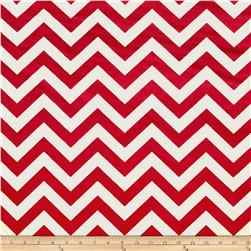 Minky 3/4'' Chevron White/Red Fabric