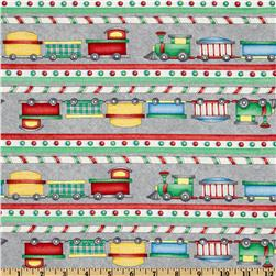 Holiday Express Ticking Stripe Grey