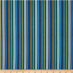 Rockets & Robots Blast Off Stripe Blue/Multi Fabric