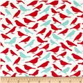 Cotton Lycra Spandex Jersey Knit Print Birds Red/Blue