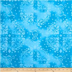 "108"" Wide Quilt Backing Medallion Tonal Turquoise"